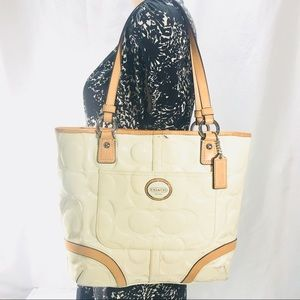 Vtg Coach Peyton Patent Leather Cream Tote Bag Zip